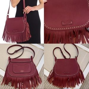 SALE New Valentino Leather Rockstud Fringe Bag
